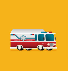 retro ambulance car in flat style vector image