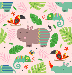 Seamless pattern with cute jungle animals vector