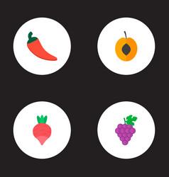 set of dessert icons flat style symbols with chili vector image