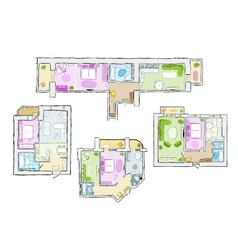 Set of interior apartment sketch for your design vector image