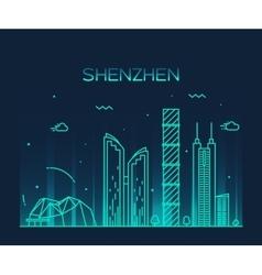 Shenzhen skyline trendy linear vector