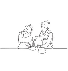 Single one line drawing happy family grandmother vector