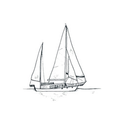 sketch boat vector image