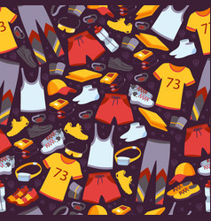 sport clothes in seamless pattern vector image