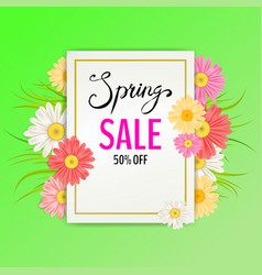 spring sale banner hand drawn lettering vector image