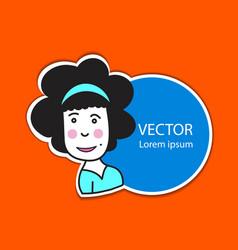 sticker label with cute women cartoon vector image