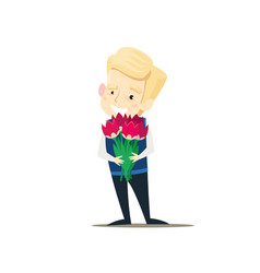 the boy is holding a bouquet of flowers vector image