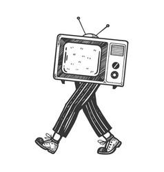 Tv walks on its feet engraving vector