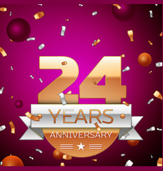 Twenty four years anniversary celebration design vector