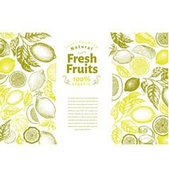 vintage citrus banner template lemon tree design vector image