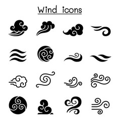 wind icon set vector image