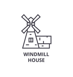 windmill house line icon outline sign linear vector image