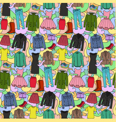 Woman clothes colorful seamless pattern vector