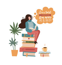 young woman sitting on books stack and reading vector image