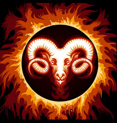 Zodiac sign of aries in fire circle vector