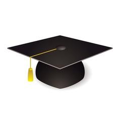 Black graduation mortar board hat with gold trim vector