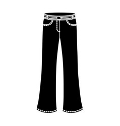 blue jeans with a belthippy single icon in black vector image vector image