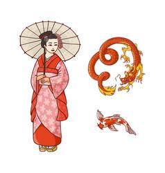 Geisha with umbrella dragon koi carp set vector