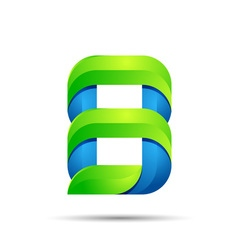 3d Number eight 8 logo with speed green leaves vector image