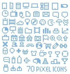 70 pixel web icons vector image
