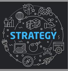 black line flat circle strategy vector image