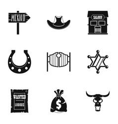 cowboy icon set simple style vector image