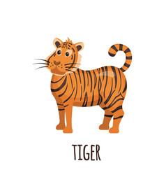 cute tiger in flat style vector image vector image