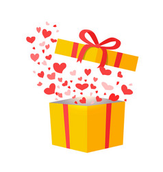 outflying hearts from present on white background vector image vector image