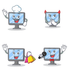Set of monitor character with chef devil shopping vector