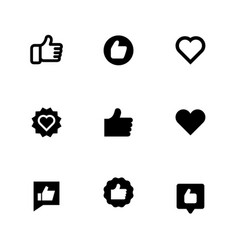 thumbs up and heart signs flat icons vector image