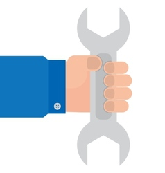 wrench in hand mechanics vector image vector image
