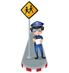 A policeman writing with a yellow signage vector image vector image