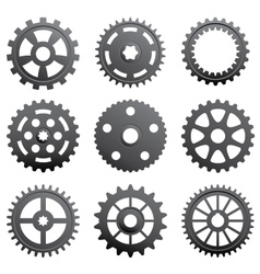 A set of gears and pinions vector image