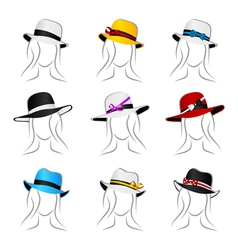female summer hats vector image vector image