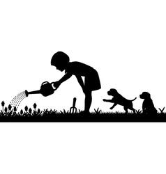 Gardening girl vector image vector image