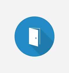 open door Flat Blue Simple Icon with long shadow vector image vector image