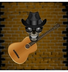 skull blues with brick and hat guitar vector image