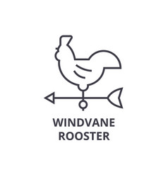 windvane rooster line icon outline sign linear vector image vector image