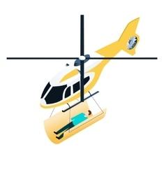 Isometric emergency helicopter vector image vector image