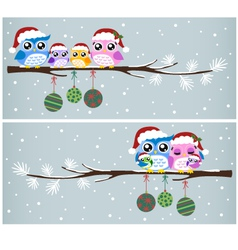 owl christmas tree card vector image vector image