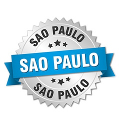 Sao Paulo round silver badge with blue ribbon vector image vector image