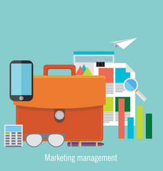 set flat marketing management vector image