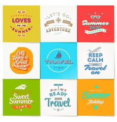 Set of travel and vacation type design vector image