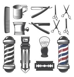 Set of vintage barber shop elements vector image vector image