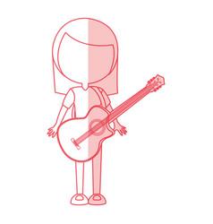 shadow women guitar cartoon vector image