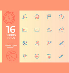 16 sports icon sports symbol modern simple vector image