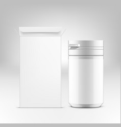 3d medical pills tube package with paper box vector