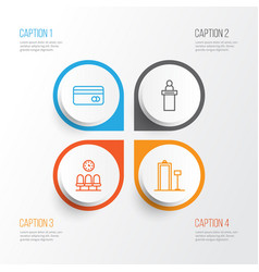 Airport icons set collection of security scanner vector