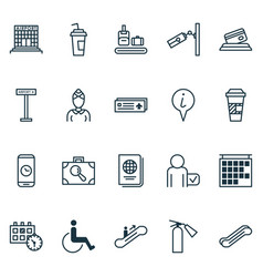 airport icons set with airport sign disabled vector image