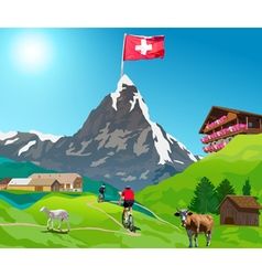 Alps Matterhorn mountain landscape vector